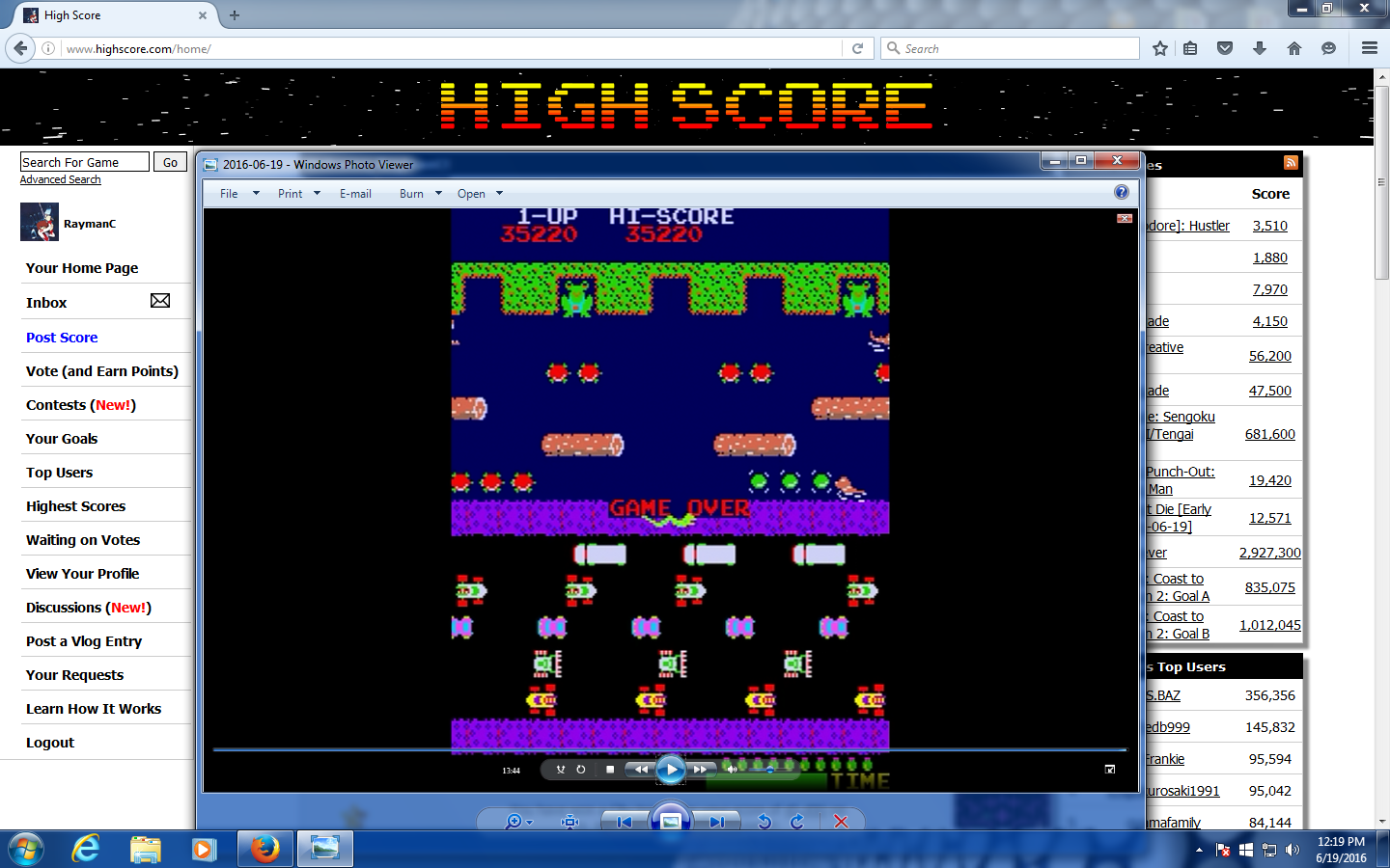 Frogger 35,220 points