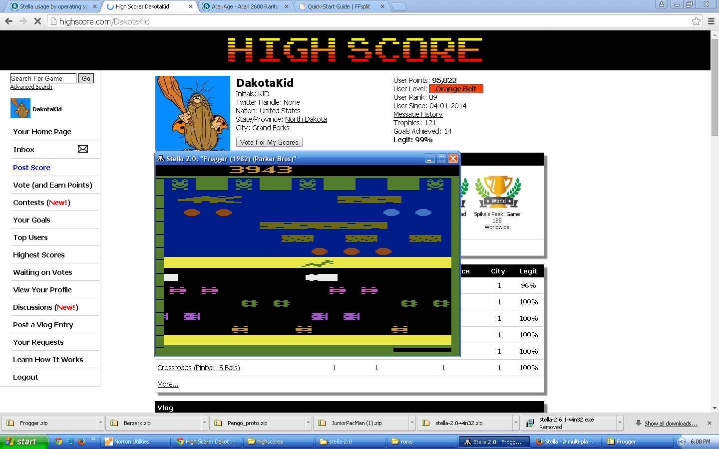 DakotaKid: Frogger (Atari 2600 Emulated Novice/B Mode) 3,943 points on 2015-09-10 18:08:29