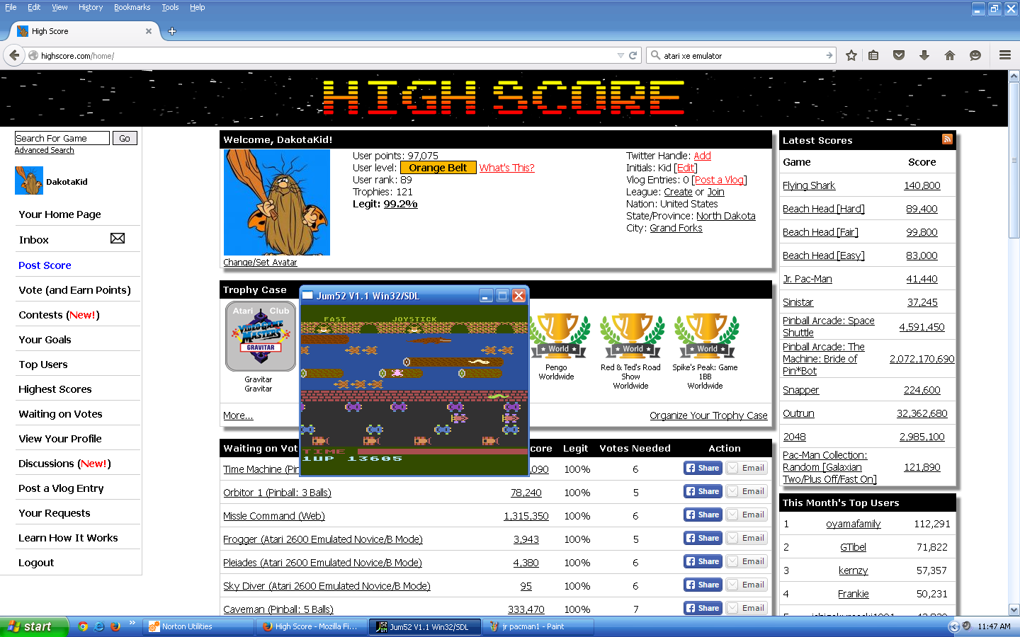 Frogger 13,605 points