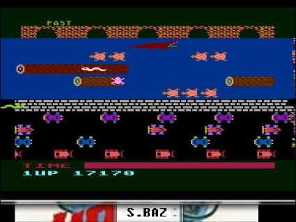 S.BAZ: Frogger: Fast [Parker Brothers] (Atari 400/800/XL/XE Emulated) 17,170 points on 2016-05-20 01:27:03