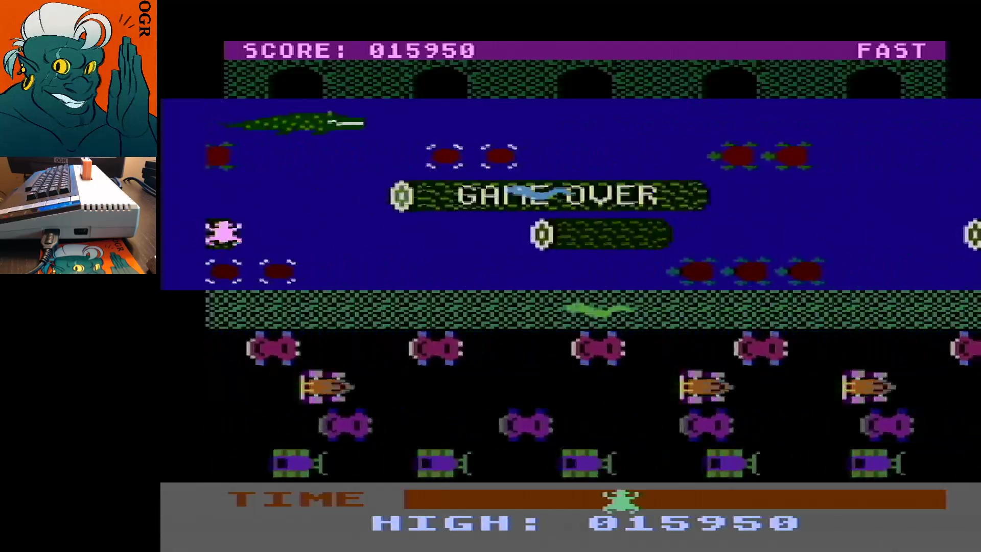 AwesomeOgre: Frogger: Fast [Sierra Online/John Harris] (Atari 400/800/XL/XE) 15,950 points on 2020-01-16 11:15:01