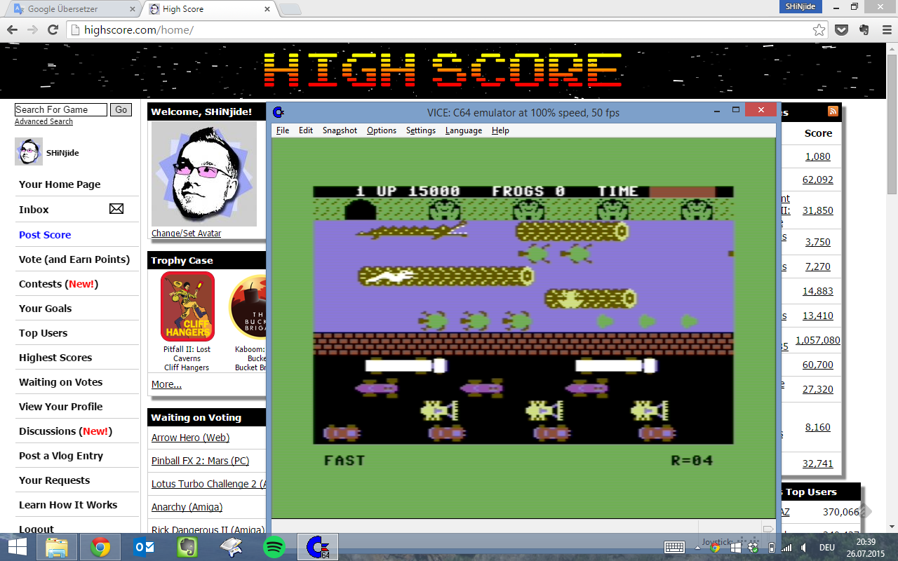 SHiNjide: Frogger: Parker Bros [Fast] (Commodore 64 Emulated) 15,000 points on 2015-07-26 13:51:44