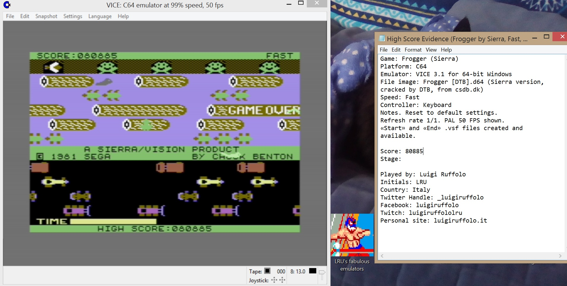 LuigiRuffolo: Frogger: Sierra (Commodore 64 Emulated) 80,885 points on 2020-05-31 03:08:07