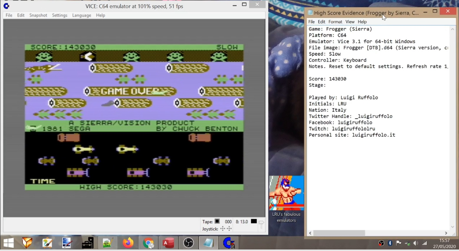 LuigiRuffolo: Frogger: Sierra [Slow] (Commodore 64 Emulated) 143,030 points on 2020-05-27 11:52:18