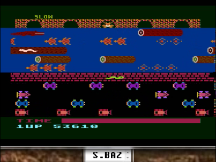 S.BAZ: Frogger: Slow [Parker Brothers] (Atari 400/800/XL/XE Emulated) 53,610 points on 2016-05-20 01:29:16