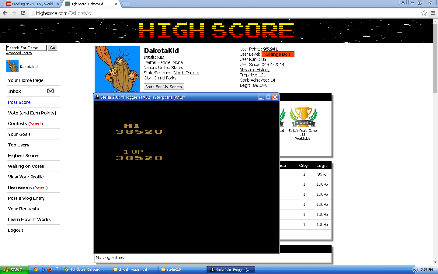 DakotaKid: Frogger, The Official (Atari 2600 Emulated Novice/B Mode) 38,520 points on 2015-09-11 17:59:51