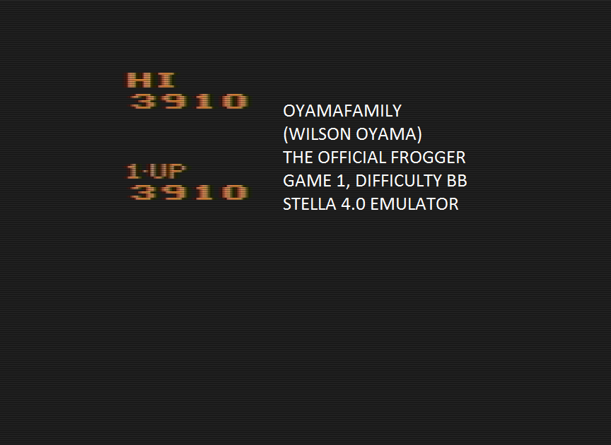 oyamafamily: Frogger, The Official (Atari 2600 Emulated Novice/B Mode) 3,910 points on 2016-04-10 11:38:36