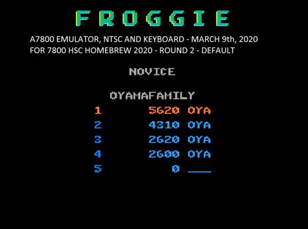 oyamafamily: Froggie (Atari 7800 Emulated) 5,620 points on 2020-04-05 18:43:51