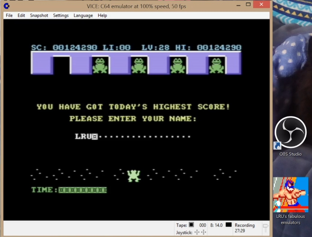 LuigiRuffolo: Frogs in Space (Commodore 64 Emulated) 124,290 points on 2020-07-29 09:22:42