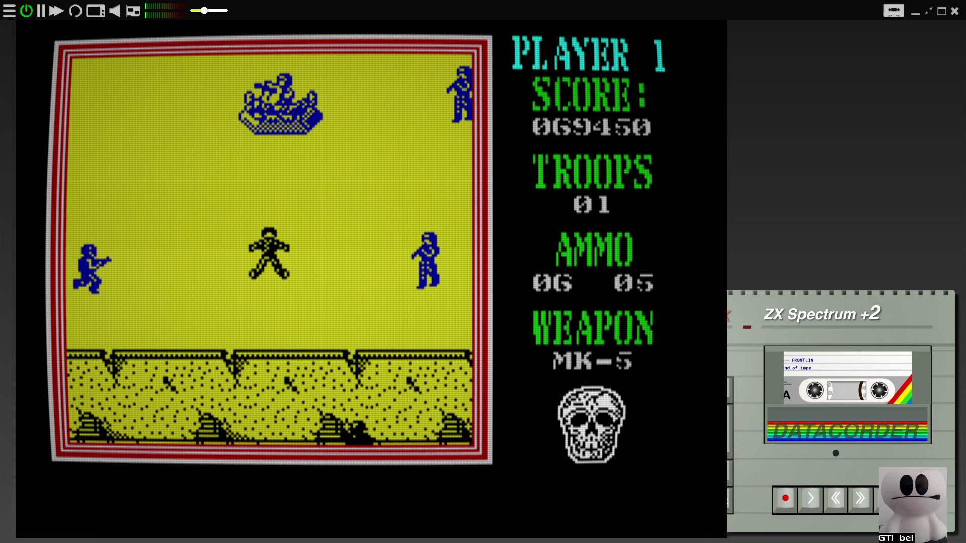 GTibel: Frontline [100,000 Points Completion Bonus] (ZX Spectrum Emulated) 69,450 points on 2020-08-04 07:52:21