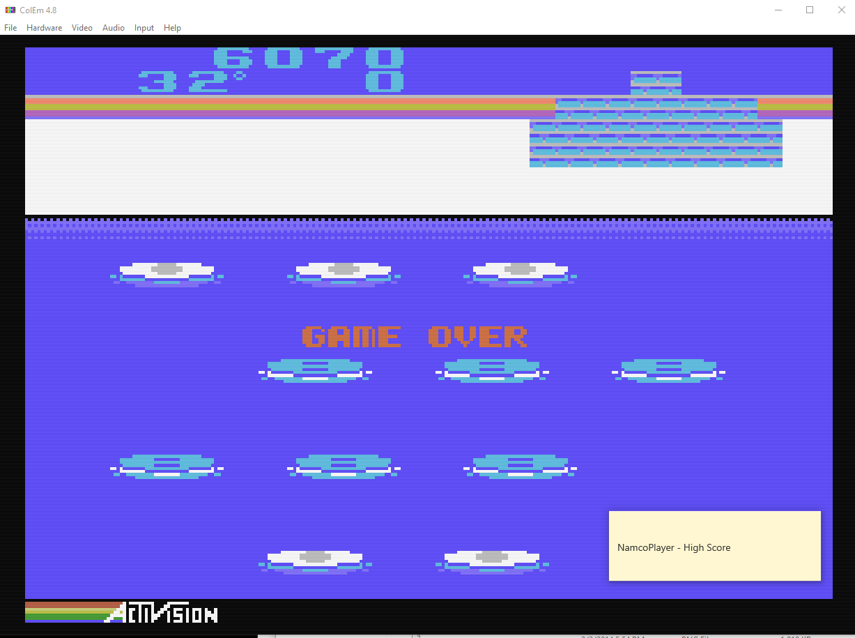 NamcoPlayer: Frostbite [Advanced / Coleco] (Colecovision Emulated) 6,070 points on 2020-11-03 10:48:48
