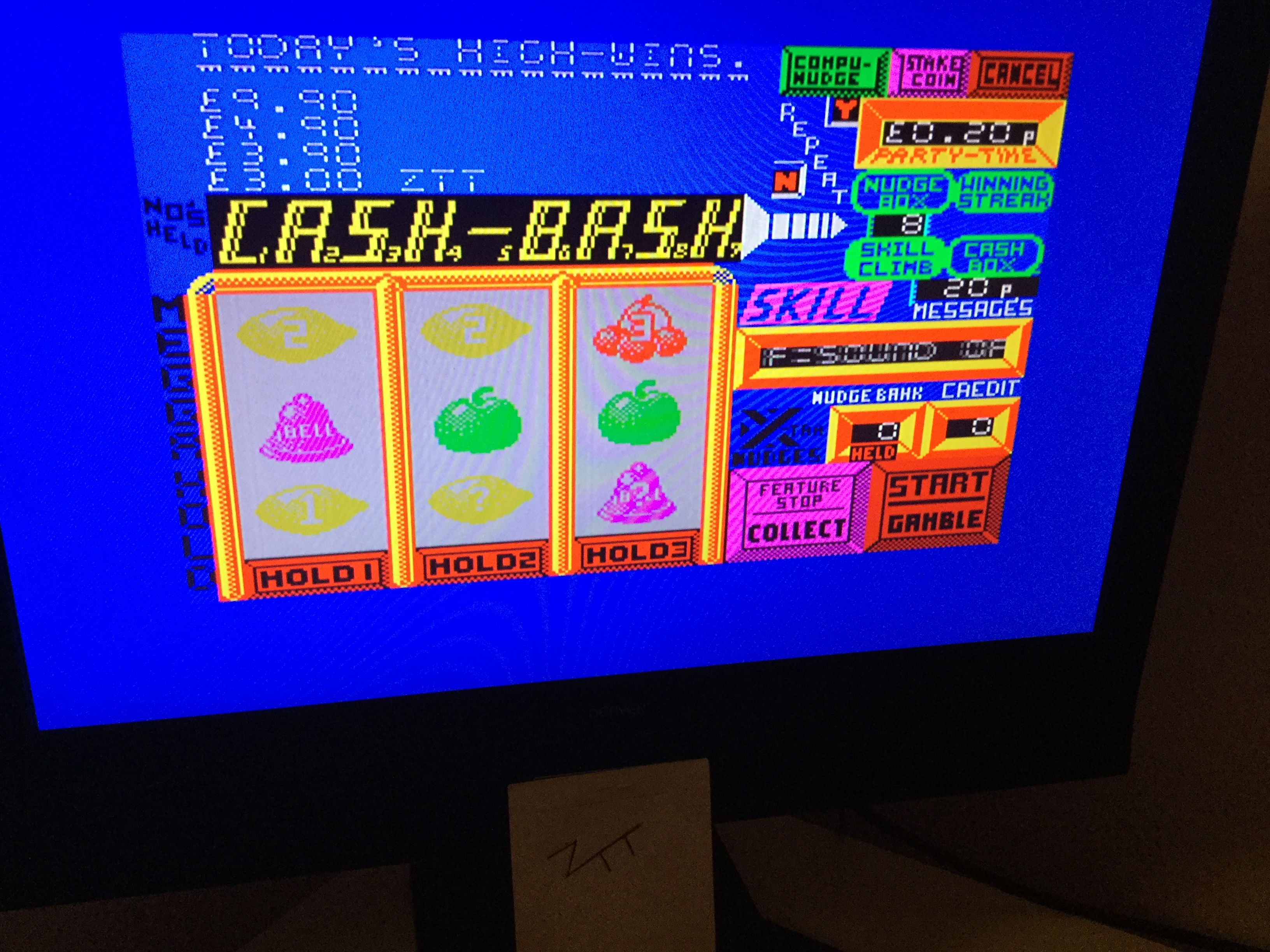 Frankie: Fruit Machine Simulator 1 [Score = Walk Away] [Money * 100] (ZX Spectrum) 300 points on 2019-12-23 03:48:07