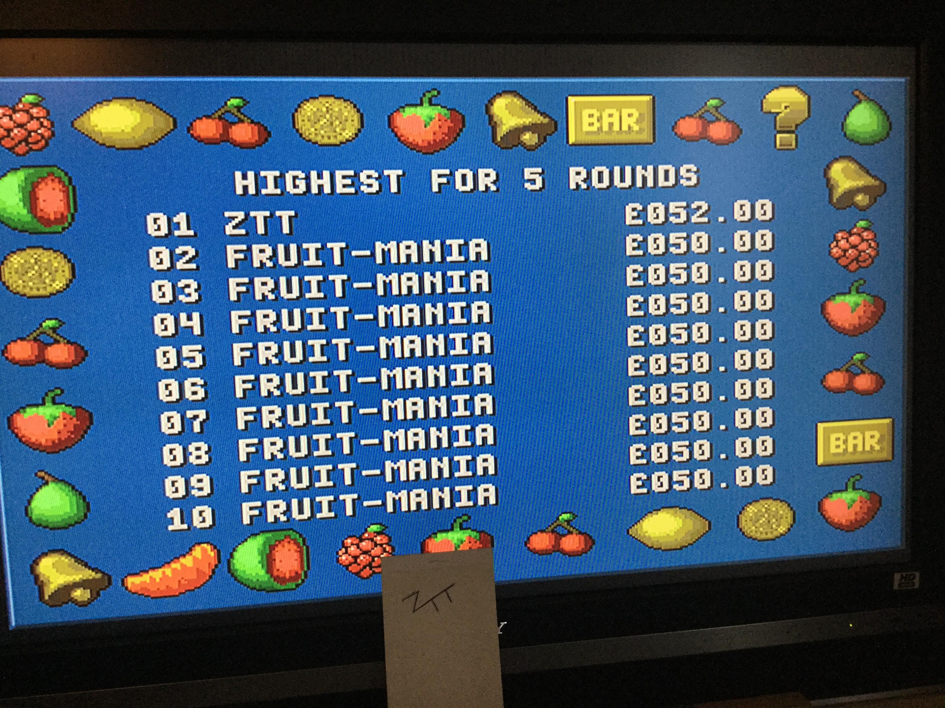 Frankie: Fruit-Mania [5 Rounds] [Money * 100] (Amiga) 5,200 points on 2017-10-20 06:07:55