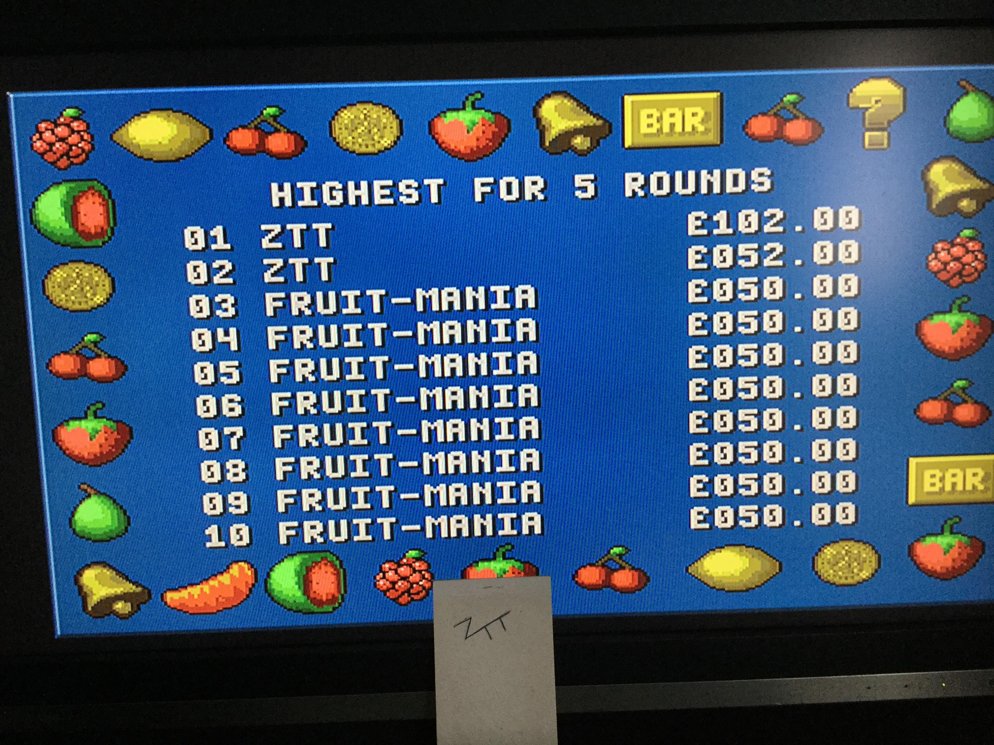 Frankie: Fruit-Mania [5 Rounds] [Money * 100] (Amiga) 10,200 points on 2017-12-02 06:14:53