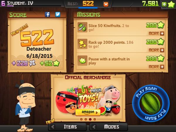Deteacher: Fruit Ninja HD: Classic Mode (iOS) 522 points on 2015-06-18 19:16:03
