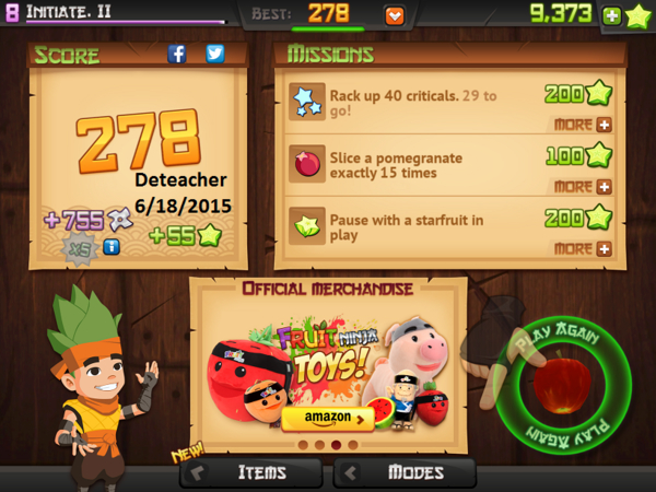 Deteacher: Fruit Ninja HD: Zen Mode (iOS) 278 points on 2015-06-18 20:17:31