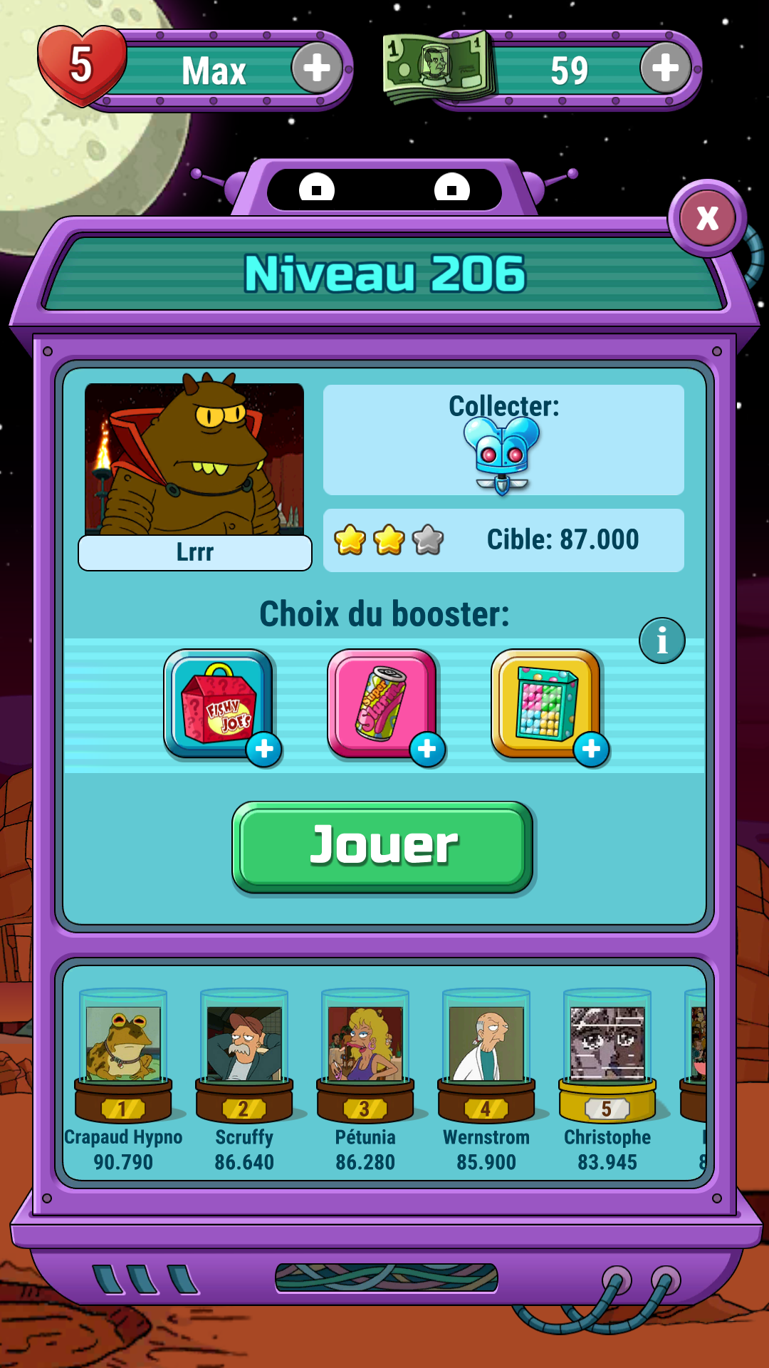 Mantalow: Futurama: Game of Drones: Level 206 (Android) 83,945 points on 2016-10-31 01:50:45