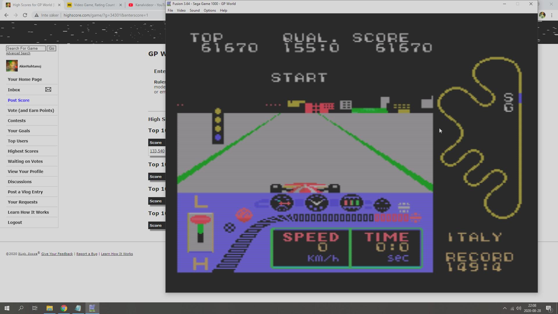 AkinNahtanoj: GP World [Level 1] (Sega SG-1000 Emulated) 61,670 points on 2020-08-28 15:40:14