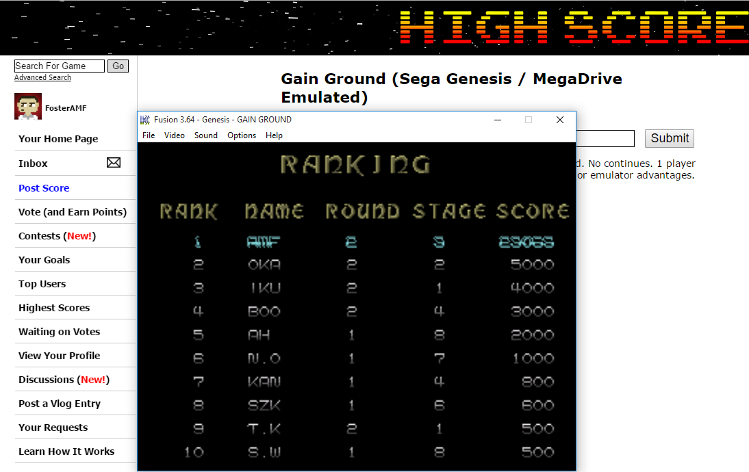 FosterAMF: Gain Ground (Sega Genesis / MegaDrive Emulated) 23,066 points on 2015-12-10 15:29:15