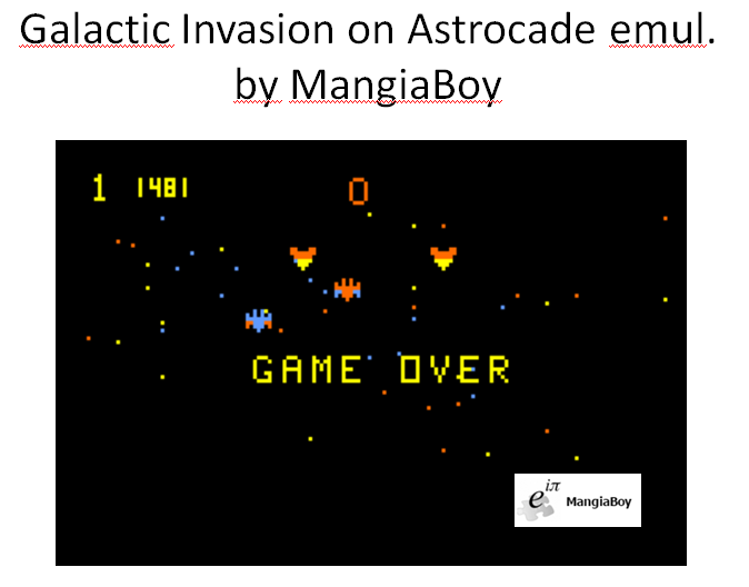 MangiaBoy: Galactic Invasion (Astrocade Emulated) 1,481 points on 2016-01-09 20:39:15