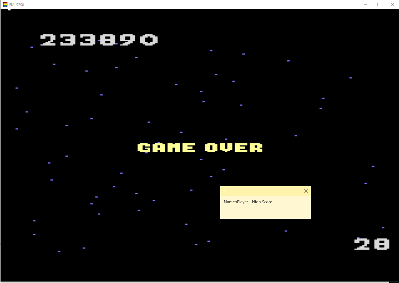 NamcoPlayer: Galaga: Advanced (Atari 7800 Emulated) 233,890 points on 2020-11-05 13:47:48