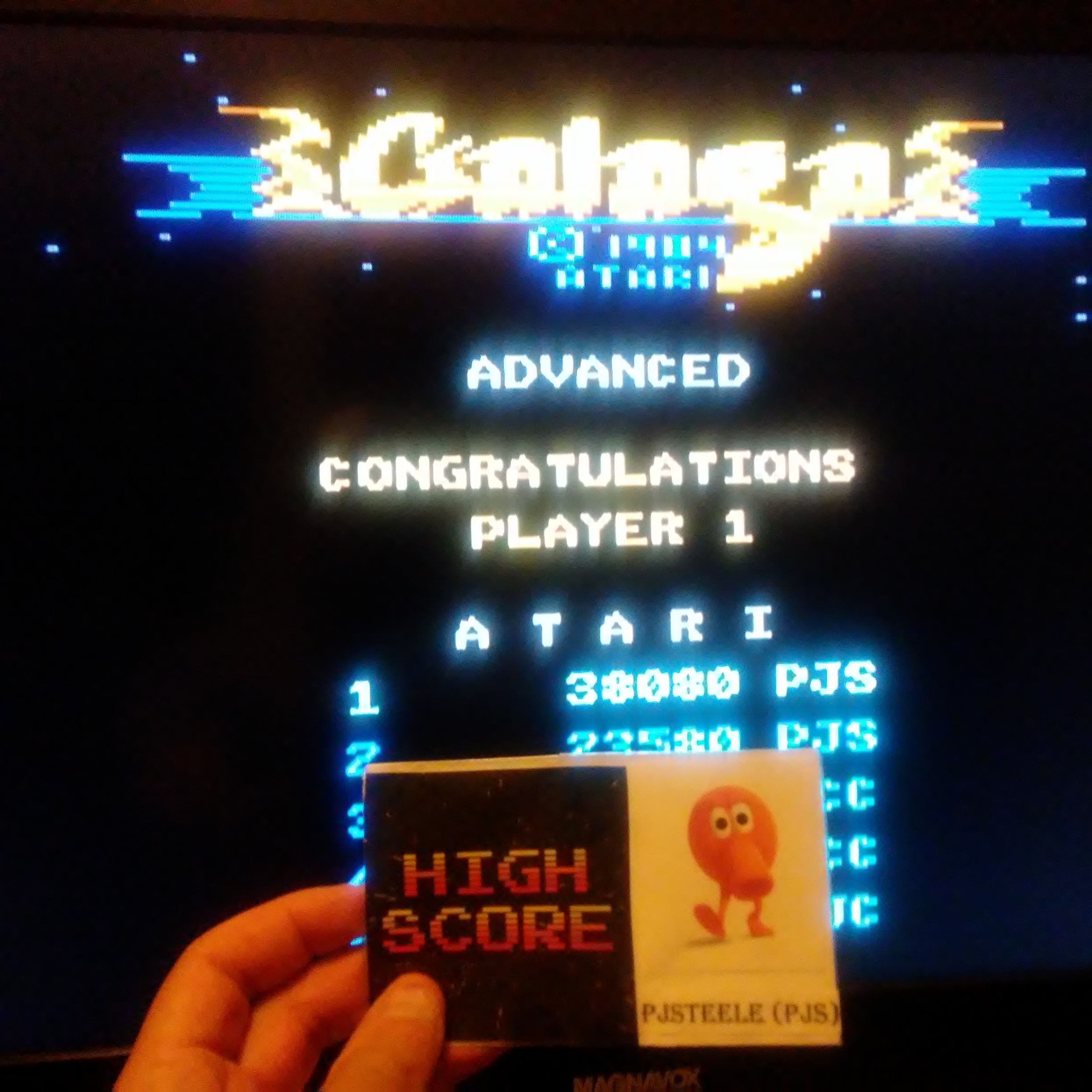 Pjsteele: Galaga: Advanced (Atari 7800 Emulated) 38,080 points on 2017-10-15 19:55:59