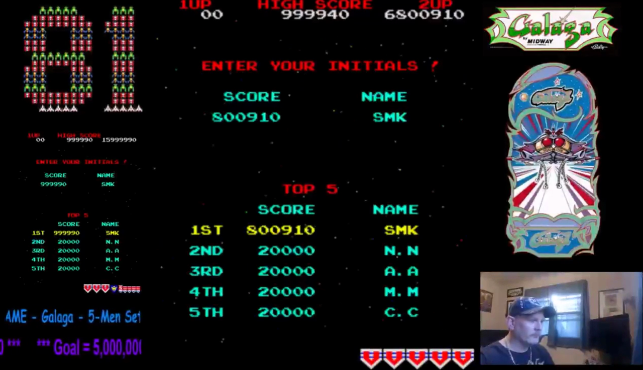 TheGalagaKing: Galaga (Arcade Emulated / M.A.M.E.) 6,800,910 points on 2017-02-11 22:52:35