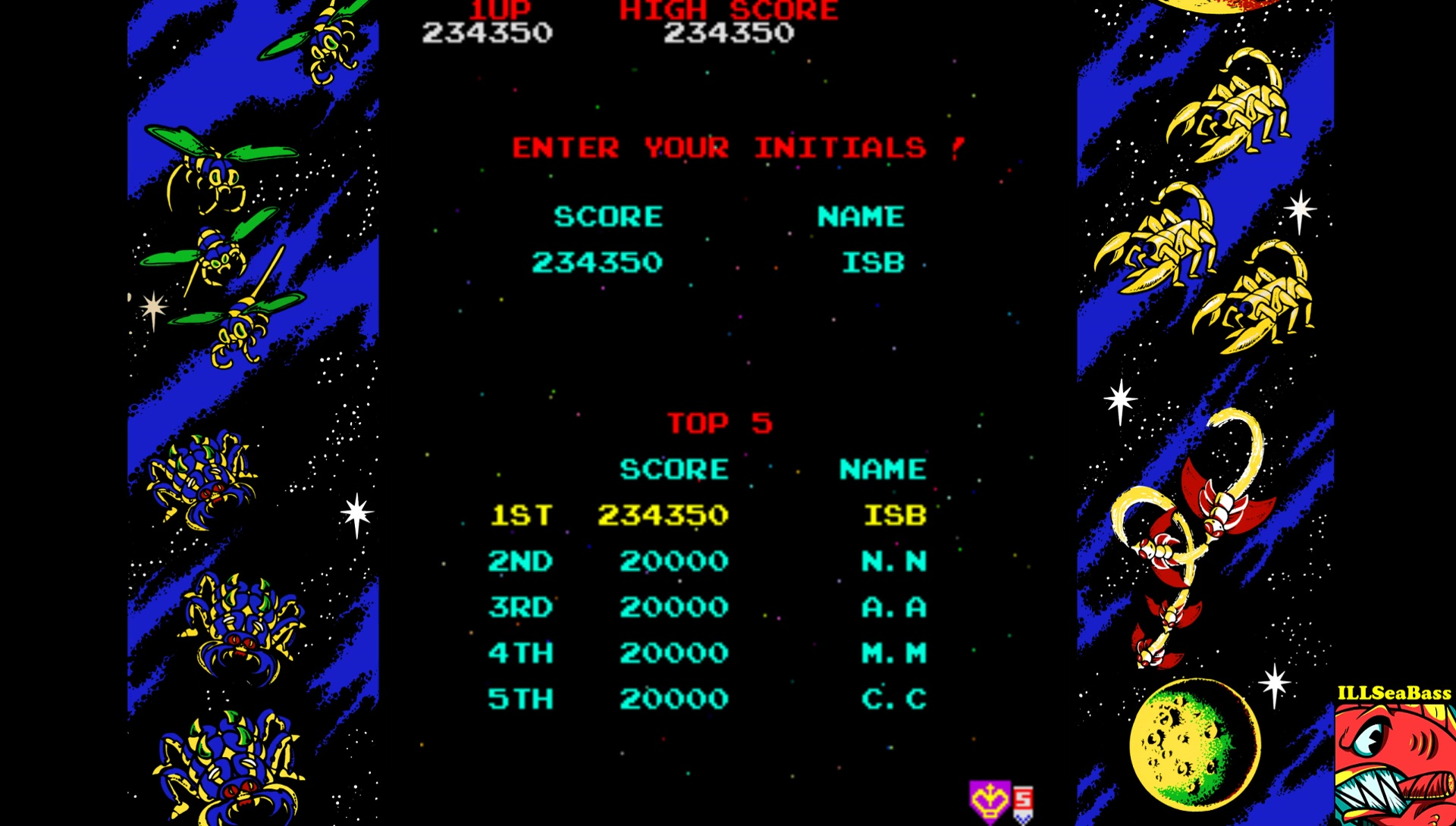 ILLSeaBass: Galaga (Arcade Emulated / M.A.M.E.) 234,450 points on 2017-08-21 21:44:19
