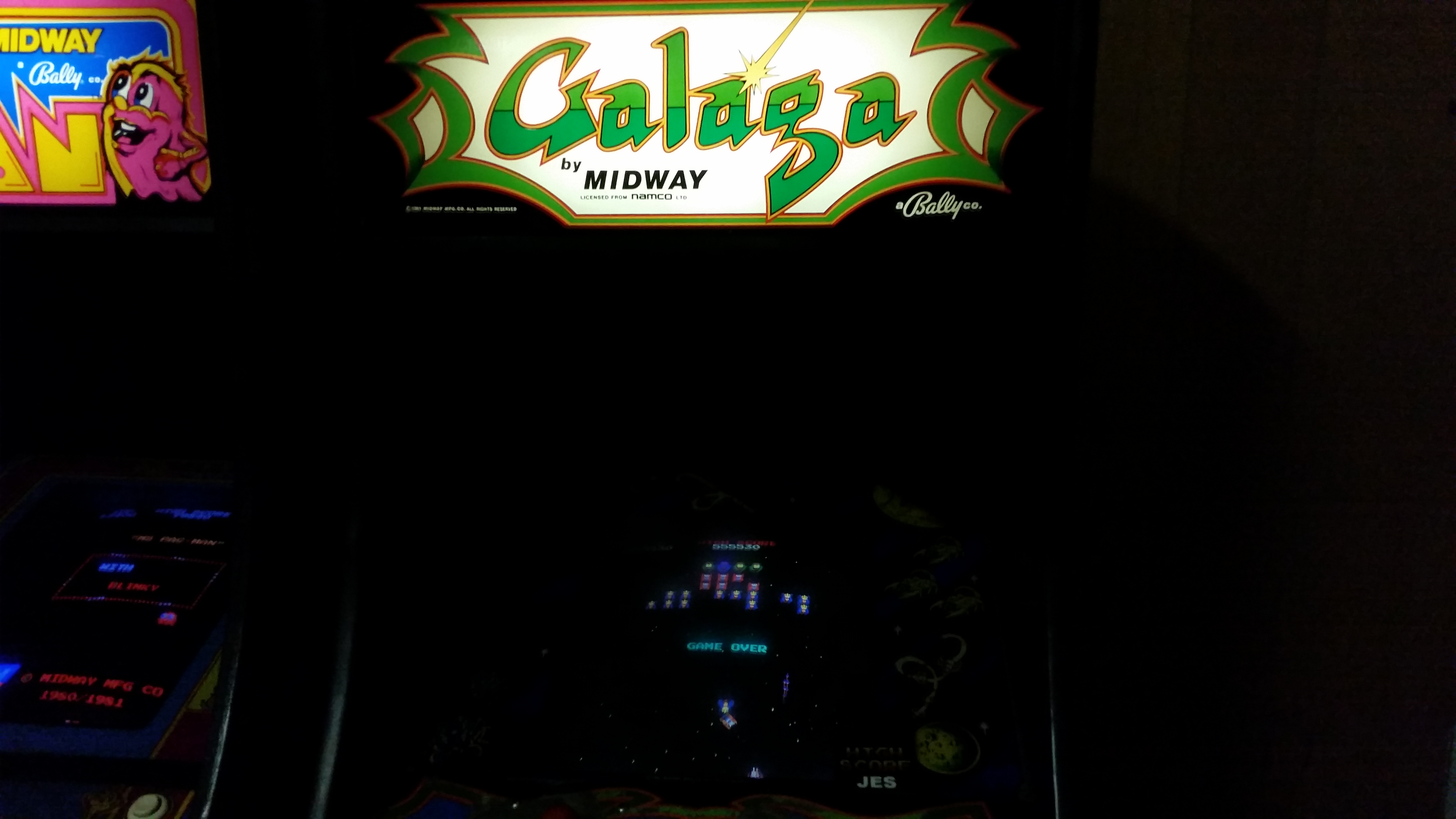 Galaga 555,530 points