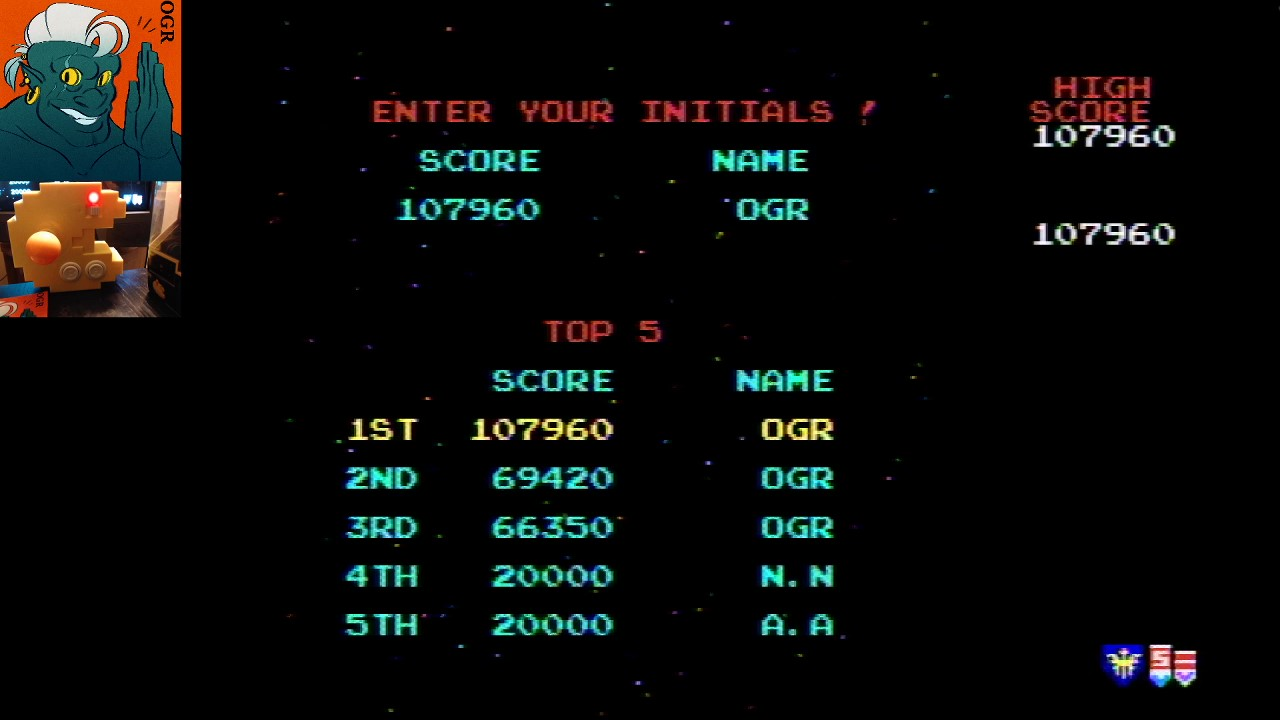 Galaga 107,960 points