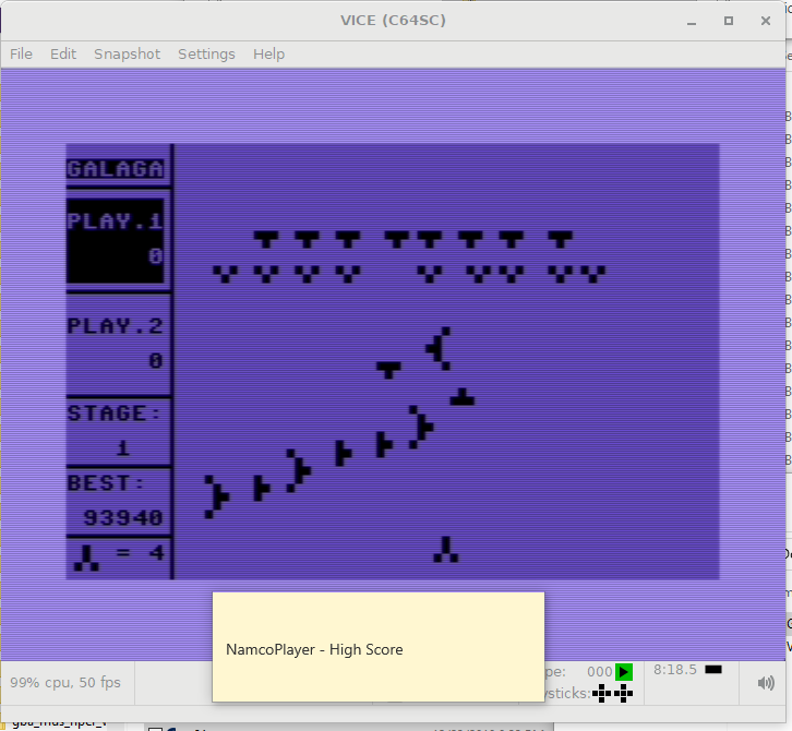 NamcoPlayer: Galaga (Commodore 64 Emulated) 93,940 points on 2020-11-01 11:05:42