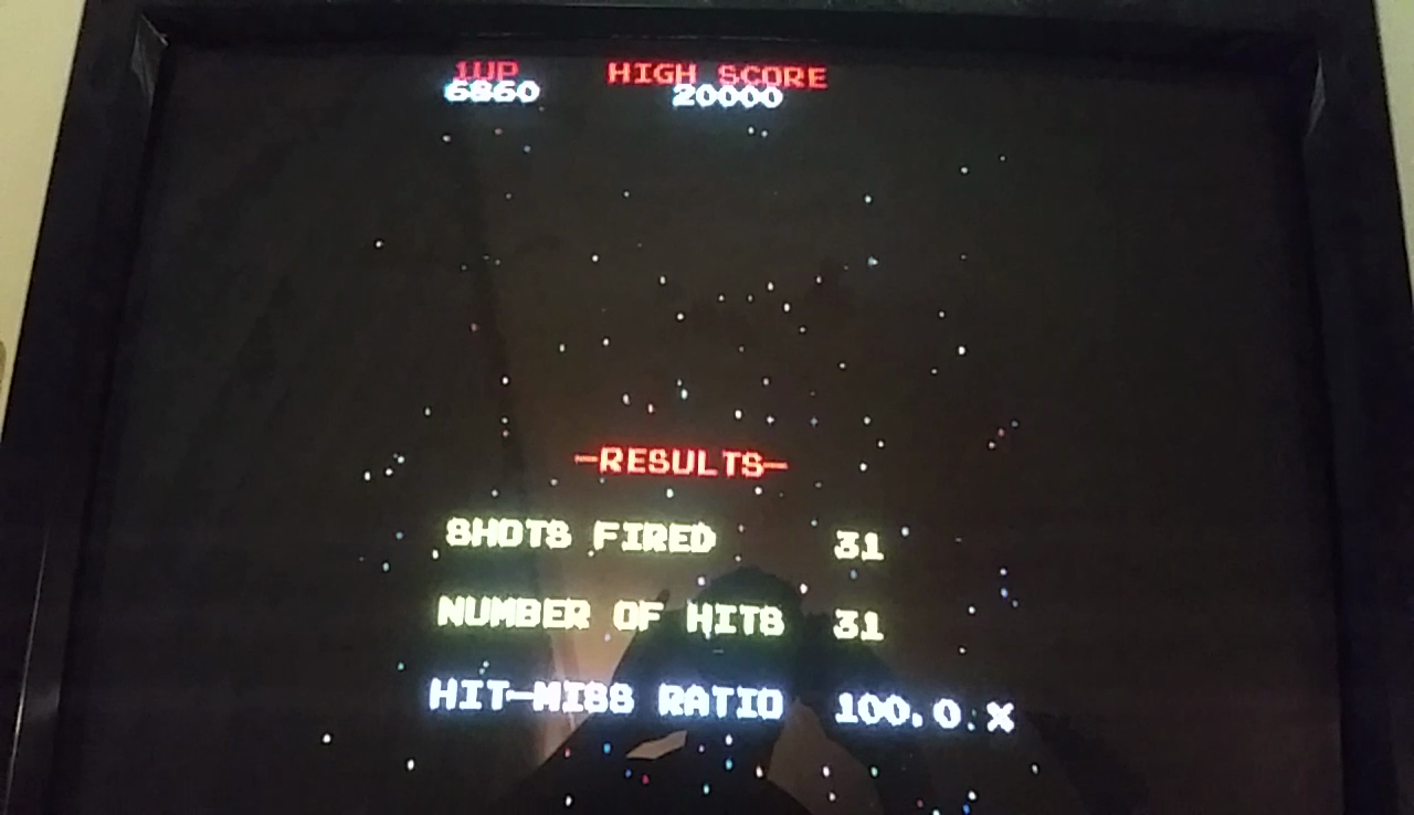 JES: Galaga [Final Score with 100% Hit/Miss Ratio] (Arcade Emulated / M.A.M.E.) 6,860 points on 2017-05-12 02:24:35