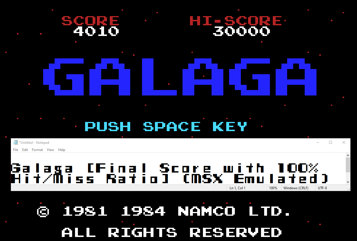 NamcoPlayer: Galaga [Final Score with 100% Hit/Miss Ratio] (MSX Emulated) 4,010 points on 2020-09-30 17:02:45