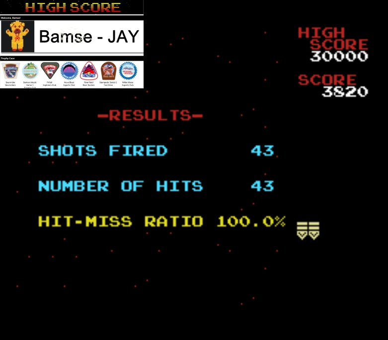 Bamse: Galaga [Final Score with 100% Hit/Miss Ratio] (MSX Emulated) 3,820 points on 2020-01-10 15:15:03