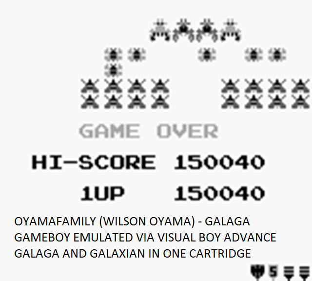 oyamafamily: Galaga (Game Boy Emulated) 150,040 points on 2015-08-04 19:24:59