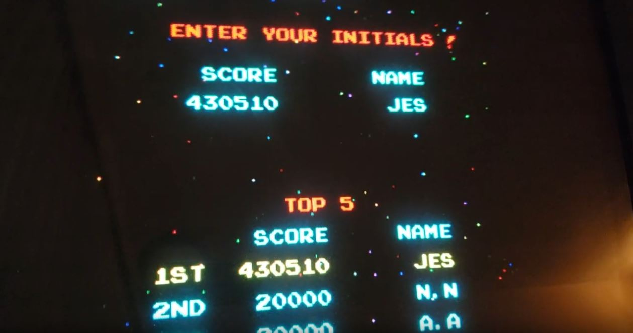 JES: Galaga [Hardest/No Bonus Life/5 Lives] [galaga] (Arcade Emulated / M.A.M.E.) 430,510 points on 2019-03-02 06:47:40