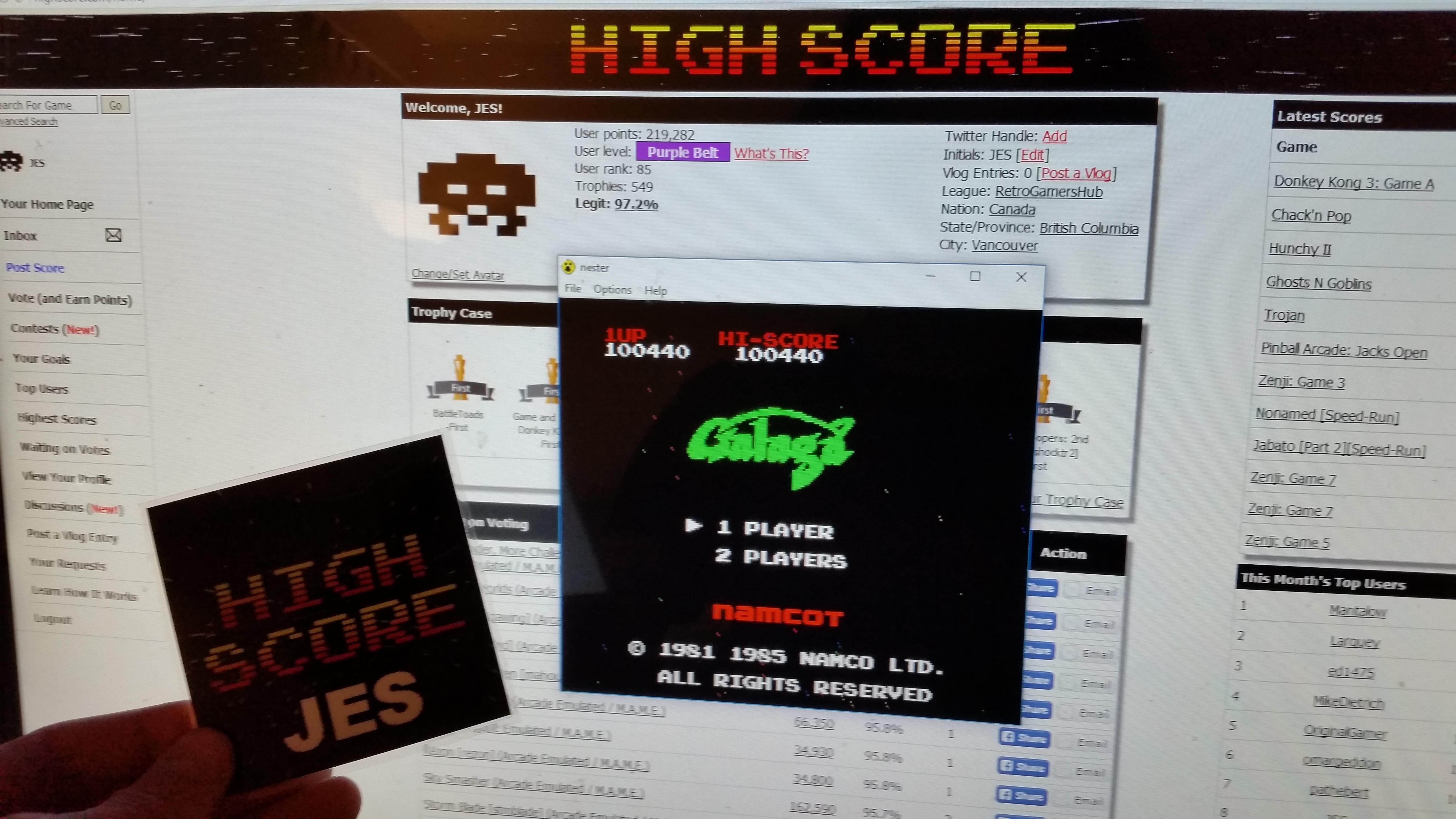 JES: Galaga (NES/Famicom Emulated) 100,440 points on 2016-11-27 13:48:18