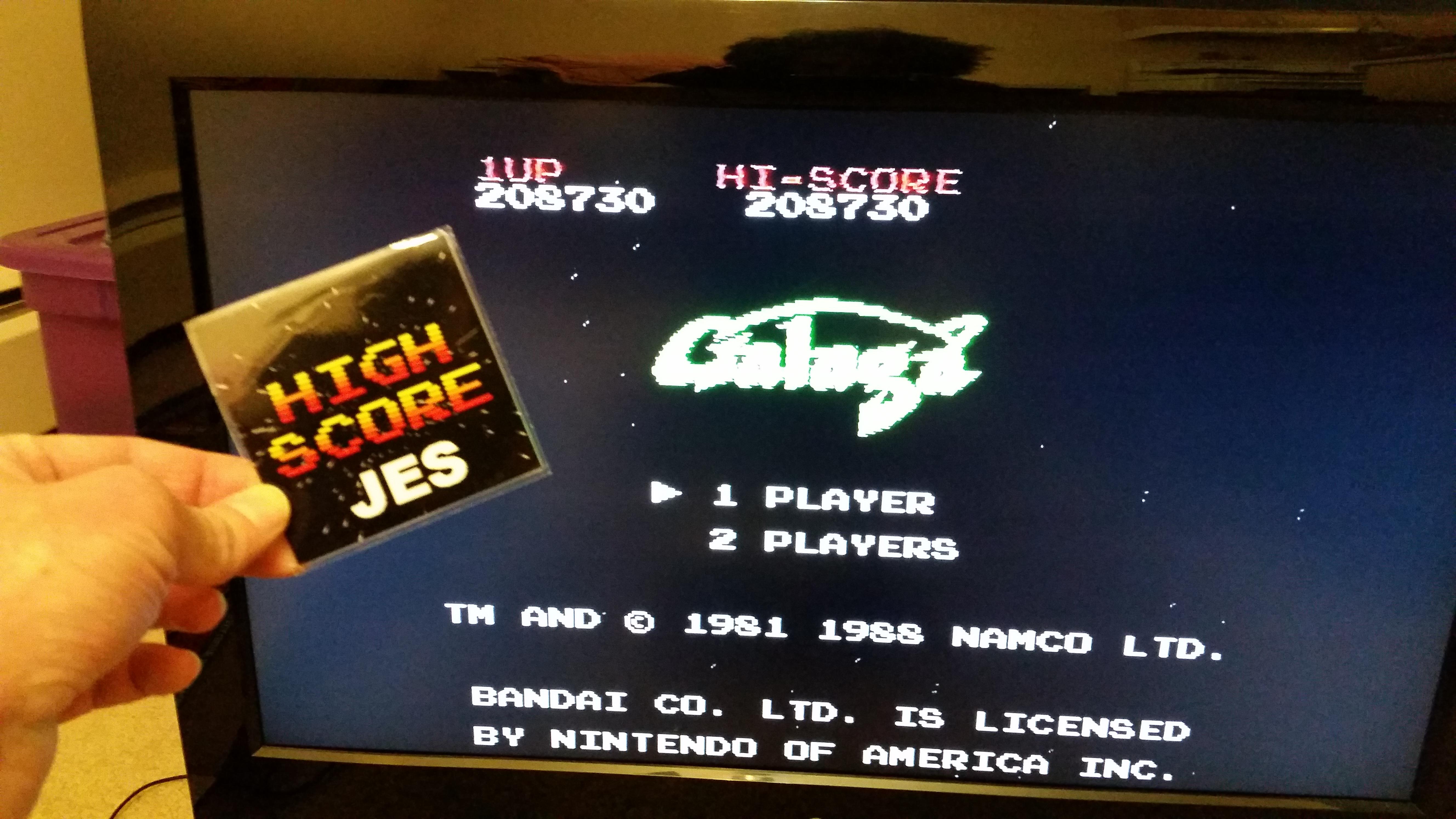 JES: Galaga (NES/Famicom) 208,730 points on 2017-02-02 23:02:15