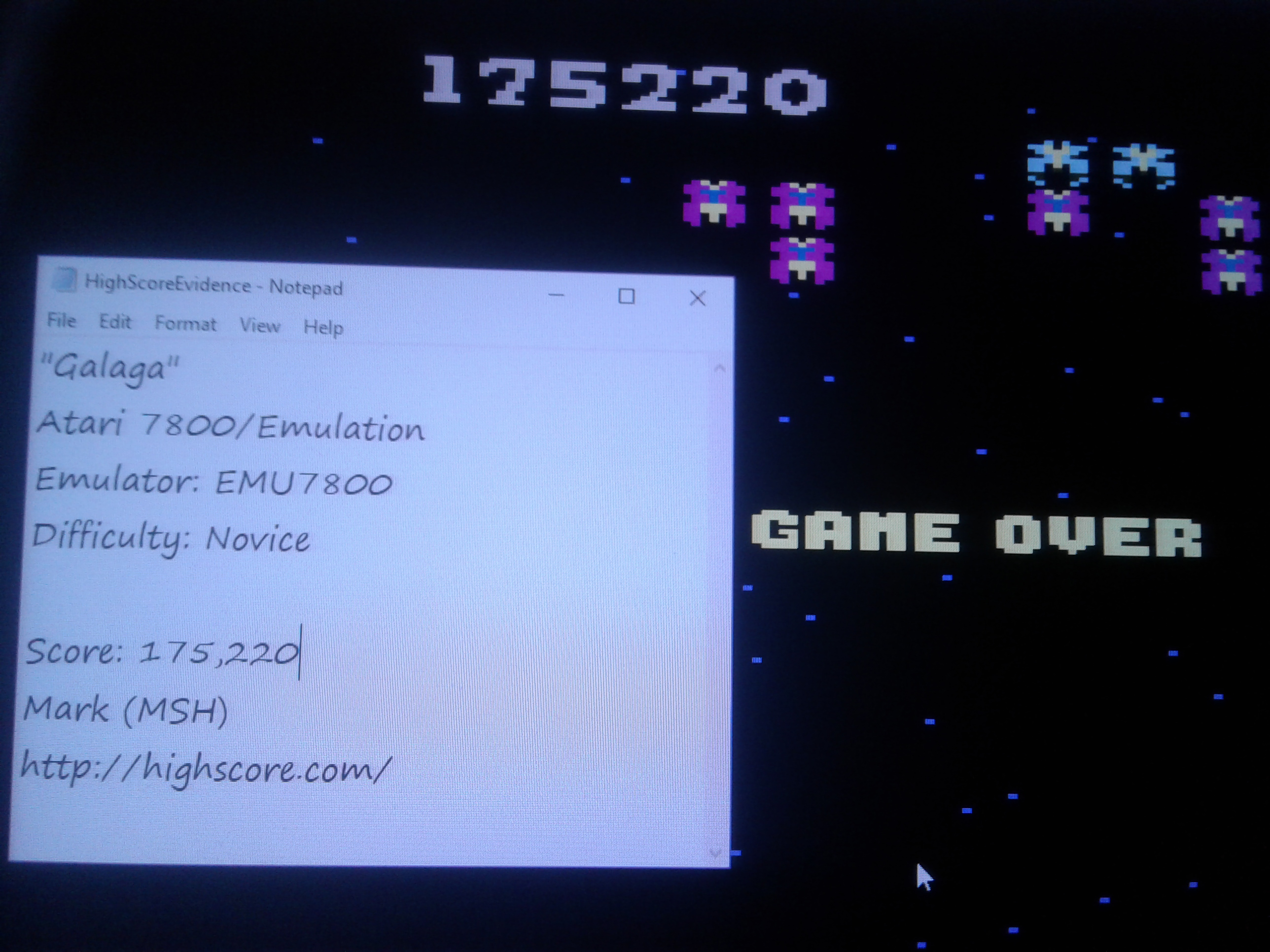 Mark: Galaga: Novice (Atari 7800 Emulated) 175,220 points on 2019-02-02 01:56:56