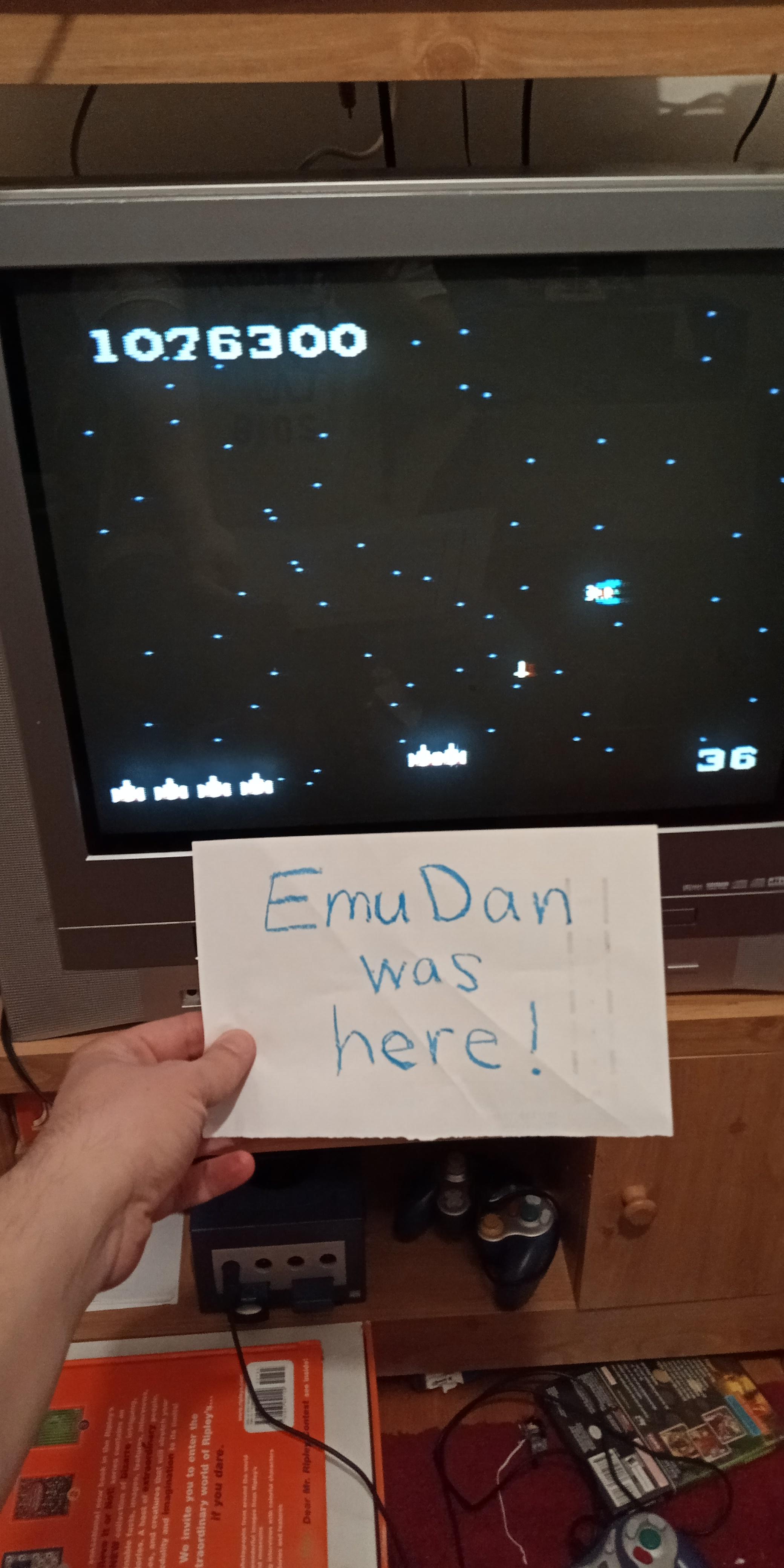 EmuDan: Galaga: Novice (Atari 7800) 1,076,300 points on 2019-05-15 19:25:32