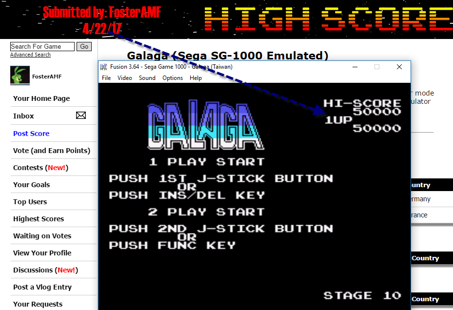FosterAMF: Galaga (Sega SG-1000 Emulated) 50,000 points on 2017-04-22 13:12:45