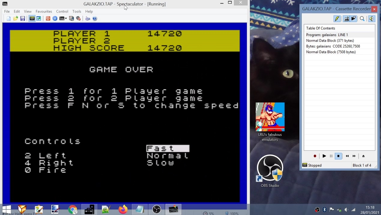 LuigiRuffolo: Galakzions [Fast] (ZX Spectrum Emulated) 14,720 points on 2021-01-28 08:53:47