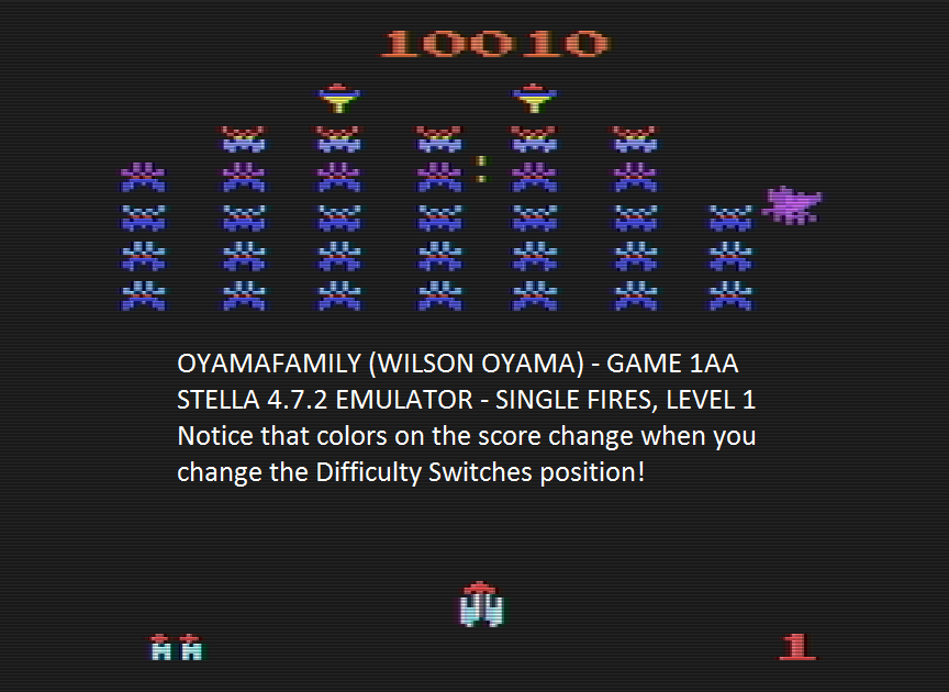 oyamafamily: Galaxian Arcade (Atari 2600 Emulated Expert/A Mode) 10,010 points on 2016-07-11 19:49:54