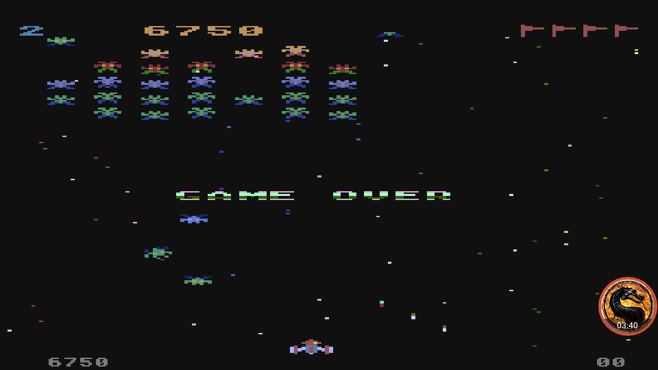 omargeddon: Galaxian [Difficulty: 2] (Atari 400/800/XL/XE Emulated) 6,750 points on 2019-12-09 12:21:19