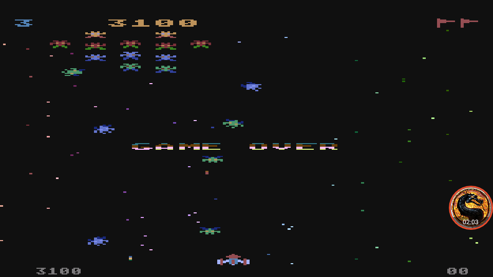 omargeddon: Galaxian [Difficulty: 3] (Atari 400/800/XL/XE Emulated) 3,100 points on 2019-12-09 12:21:59