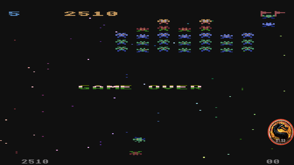omargeddon: Galaxian [Difficulty: 5] (Atari 400/800/XL/XE Emulated) 2,510 points on 2019-12-09 12:23:54