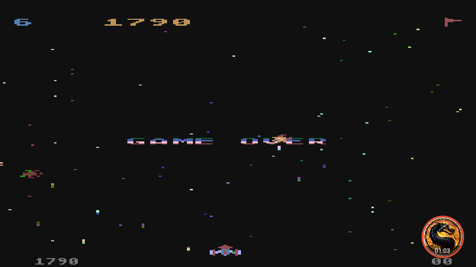 omargeddon: Galaxian [Difficulty: 6] (Atari 400/800/XL/XE Emulated) 1,790 points on 2019-12-09 12:24:39