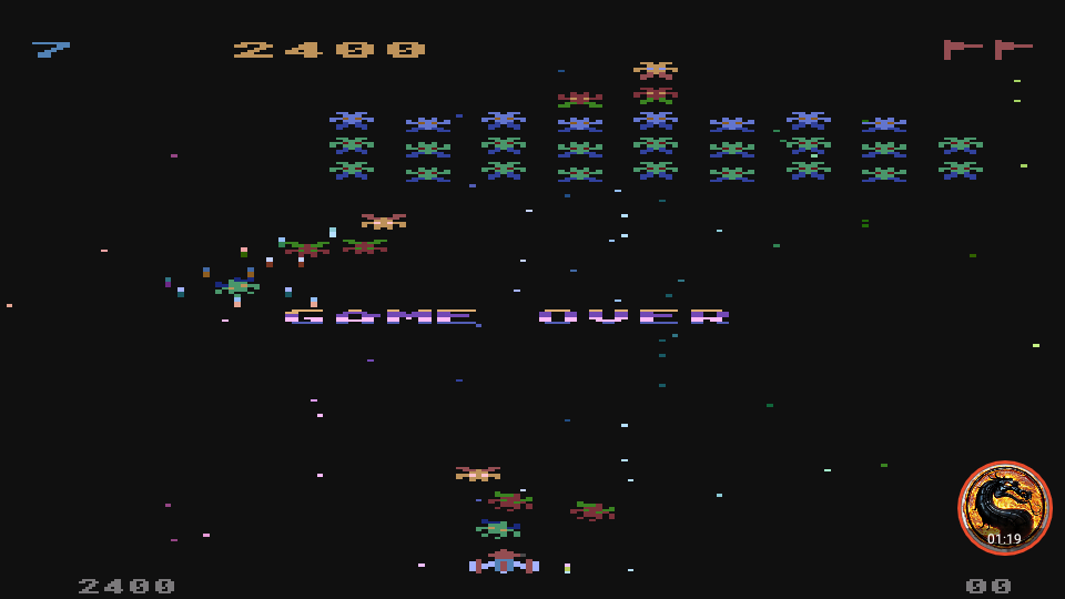 omargeddon: Galaxian [Difficulty: 7] (Atari 400/800/XL/XE Emulated) 2,400 points on 2019-12-09 12:25:29