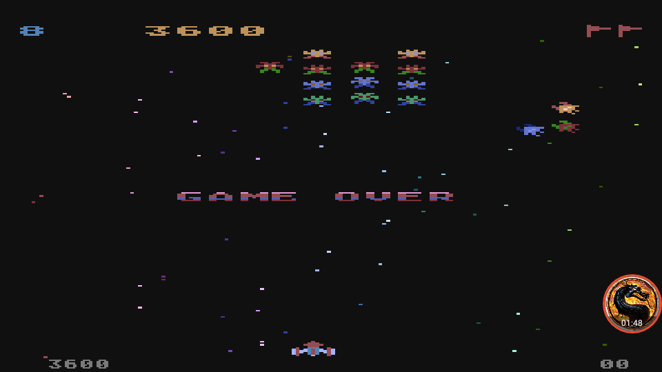 omargeddon: Galaxian [Difficulty: 8] (Atari 400/800/XL/XE Emulated) 3,600 points on 2019-12-09 12:26:19