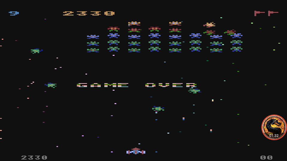 omargeddon: Galaxian [Difficulty: 9] (Atari 400/800/XL/XE Emulated) 2,330 points on 2019-12-09 12:27:02